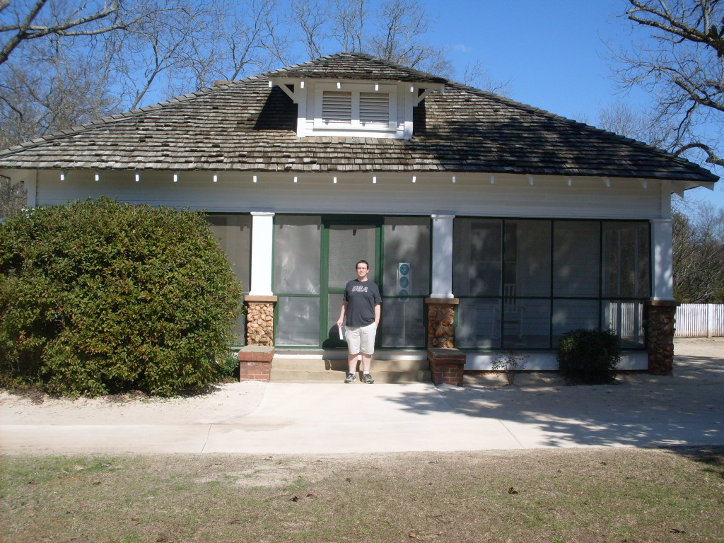 My husband, Mr. RCGG, in front of Carter's boyhood home.