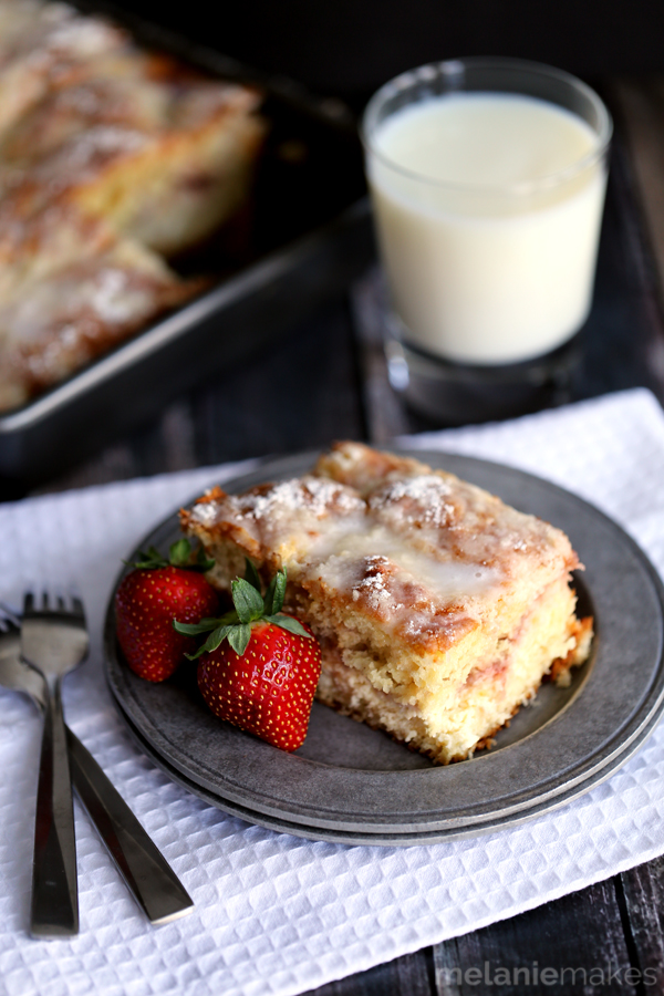 Strawberries and Cream Coffee Cake from Melanie Makes