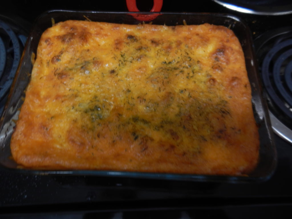 Finished bacon cheeseburger casserole