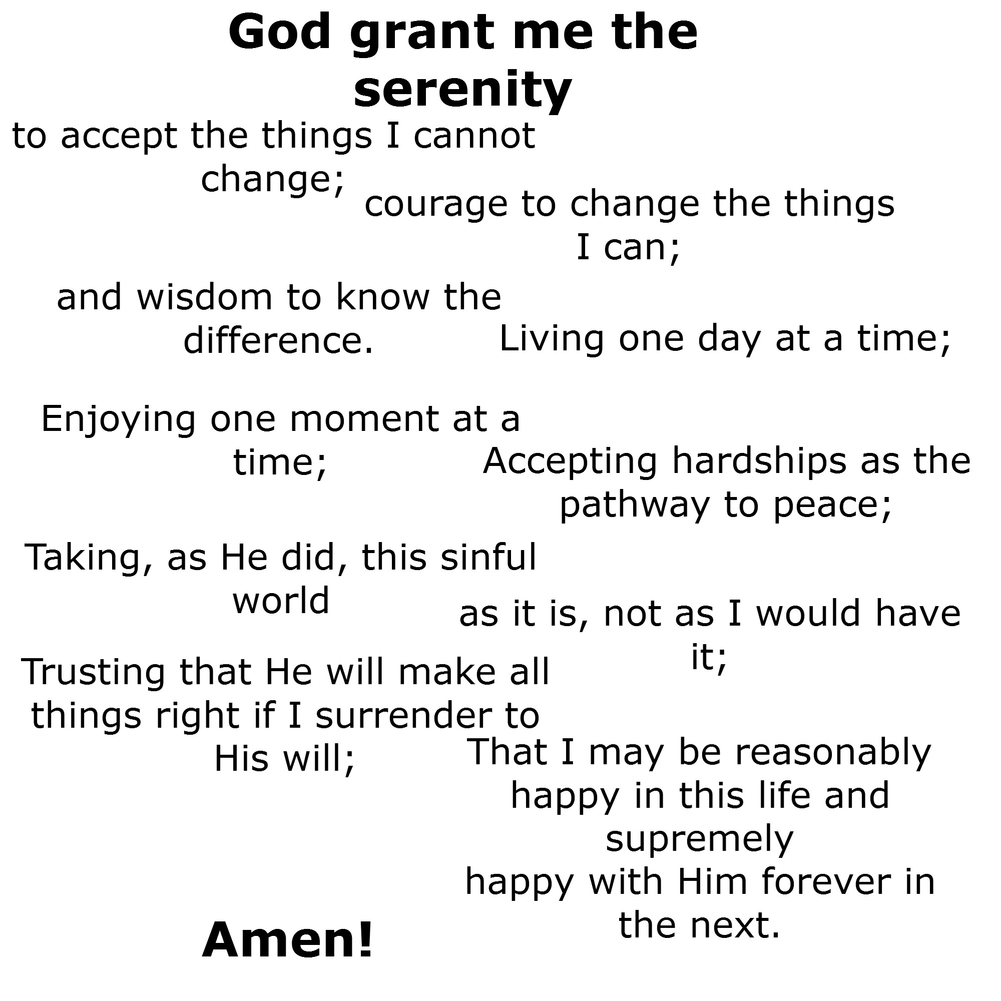 This is a graphic of Printable Serenity Prayer pertaining to worksheet